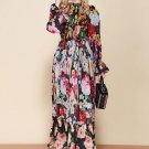 Multicolor Floral Dress Fashion Runway Long Sleeve Maxi Dress Women's elastic Waist Floral Print