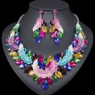 Shiny Crystals Chunky Jewelry Set Multicolored Leaves Necklace Matching Trendy Earrings
