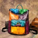 Multicolor Backpacks for Women Roomy Traveling Bags for Women Real Leather Knapsacks for Men