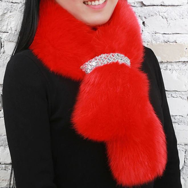 New 2020 Scarves for Women with Rhinestone Ring Holder Red Fur Scarfs-Red Neck Warmers