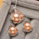 Peach Floral Bib Necklace with FREE EARRINGS Peach Pink Choker Necklace 925 Silver