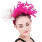 Hotpink Headdress for Women Hotpink Feather Hair Accessories Crystal Headbands