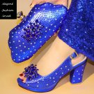 Classy Royal Blue Shoes with Matching Royal Blue Clutch Handbags for Women