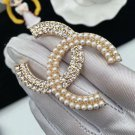 Ready to Ship Brooches with Rhinestones and Crystals Pearl Brooches for Women CC Monogram