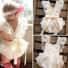 Beige Ivory Jumper for Baby Girls Lacy Ruffled Summer Outfit for Girls Props Photoshoots