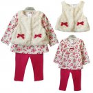 Cream Vest and Legging Baby Clothes Set Pink Floral Blouse Pink Dress for Baby Girls