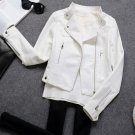Slim White Leather Cropped Jackets Medium Women FREE SHIPPING and Ready to Ship Leather Coats