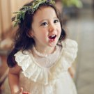 SALE! Ruffled Dress for Girls Dress with Laces Mandarin Collar Ivory Tutu Dresses for Baby Girls