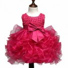 Free Shipping Hotpink Dress for Baby Girls Christening Ballgown Dress for Infant Girls Pink Dress