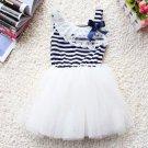 SALE! Spring Dress for Baby Girls Stripe Dress Summer Green Tutu Dress Sleeveless White Dress