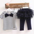 SALE! 5 Dollars Clothing Set Navy Blue Dress Stripe Dress for Girls Blue Blouse and Blue Leggings