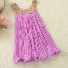 SALE! Lavander Dress for Girls Sequined Golden Collar Purple Dress Sleeveless Maxi Dress