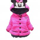Hotpink Minnie Mouse Jackets Hoodies for Girls Disney Jackets Cotton Padded Winter Jackets