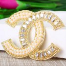 Super Luxury Brooch Beautiful Crystal Brooches for Women Silver Stones with Golden Trim Pearls