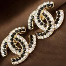 Elegant Golden Earrings for Women Fashion Earrings Black Stones Entwined CC