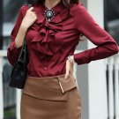 Red Silk Blouses for Secretary Women Classic Style Free Shipping Ruffled Burgundy Blouses