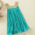 Blue Dress for Toddler Girls Paillette Free Size 4t Tank Dress with Golden Peter Pan Collar