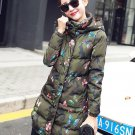 Free CC Brooch Hoodies for Women Free Shipping Green Camouflage Coat Parkas for Women