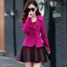 Free Shipping Magenta Blazers for Women Free CC Brooch Wool Winter Blazers Bright Pink Coats