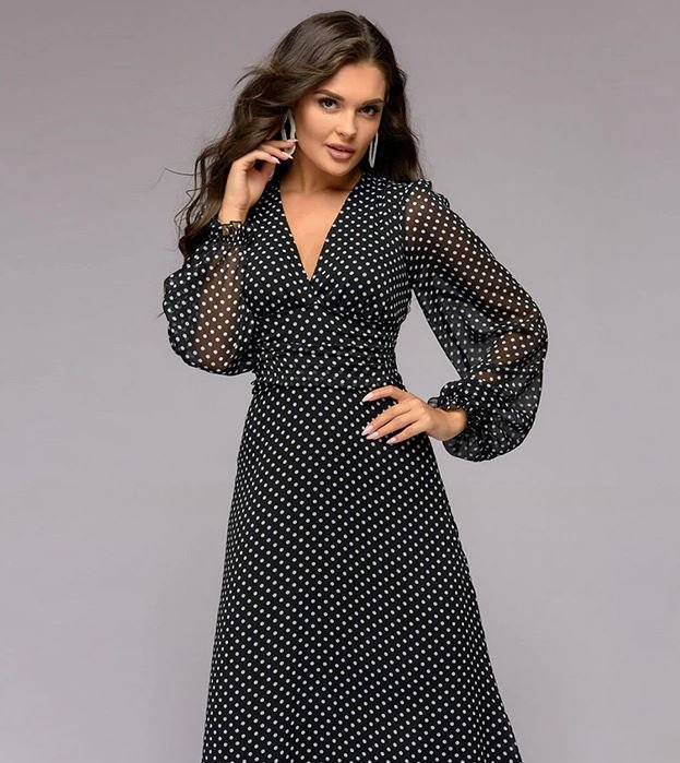 Free Shipping Black Maxi Dress Polka Dots Sheer Sleeves V-Neck Fashion Black Dresses
