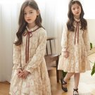 New Dresses Ivory Dress for Tween Girls Embroidery Lacy Dress Vintage Ruffled Velvet Ribbon Ruffled