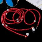 Red Bluetooth Earphone Red Jewelry Pearl Necklace Earphones with Microphone Earbuds for I-Phone