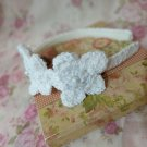 New White Headband Handmade by Lyn Crochet Flower Hair Accessories with Pearl Button