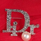 Ready to Ship Dior Brooch Silver Pins for Women Silver Letter D Monogram Brooch