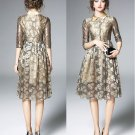 Golden Dress for Women Color Dress Beautiful Golden Dress for Women Floral Patchworks