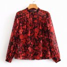 New Mandarin Collared Blouse Printed Floral Red Tops Fashion Red Blouses for Women