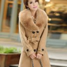Free Shipping Deluxe Brown Overcoats for Women Wool Brown Detachable Fur Collar