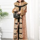 Deluxe Born to Be Leopard Woman S-7XL Extra Long Winter Faux Fur Overcoat for Women with Leopard Fox