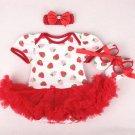Strawberry Baby Dresses 1st Birthday Dress Baby Girls Clothing Set Strawberry Birthday Theme