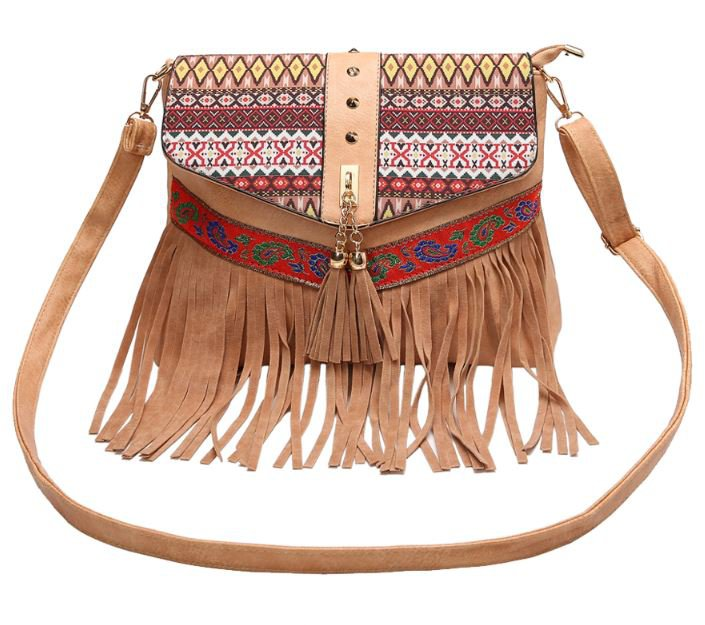 Free Shipping Brown Leather Bags Tassels Ethnic Style Bags for Women Brown Bags with Fringe