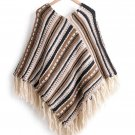 Striped and Downward Lines Brown Poncho Women Spring Winter Knit Batwing Print Tassel