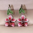 Exquisite Peach Blossom Leaf Earrings Solid Silver Earrings Red Earrings Orchid Earrings for Women