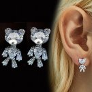 Cute Bear Stud Earrings for Women Crystal Clear Bear Lovers Movable Bear Earrings for Women