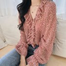 On Hand Red Blouses for Women Printed Little Roses Fashion Ruffled Blouse Spring Time