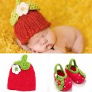 Strawberry Collections Rudelynssarisaristore.com Knitted Props Newborn Booties Strawberry Hat