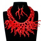 Newest Fashion Jewelry Set Pretty Red Necklaces with Matching Pretty Earrings