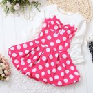 Hotpink Dress for Baby Girls with Free Hotpink Bow Headband Polka Dot Pattern Dress