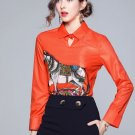 Fashion Tops for Women Long Sleeve Horse Print Bold Orange Shirts Ladies European Style