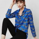 RudelynsSariSaristore.com New Loose Royal Blue Blouses On Hand Blouses for Women Printed Zebra