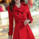SALE! On Hand Red Trench Coats for Women Free Shipping and Ready to Ship Fashion Red Dress