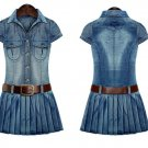 ON HAND Above the Knees Pleated Dress for Women Casual Denim Dress with Leather Belt