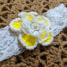 Free New Handmade by Lyn Floral Lacy Hair Accessories for Newborn Girls Yellow Crochet Headbands