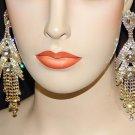 Princess Earrings Golden Long Earrings with 2 Big Stones