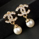 Elegant Pearl Earrings New Golden Earrings for Women CC Earrings for Women