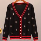Black Sweater with Embroidered Golden Bees Cotton Stretchable Fall Spring Black Cardigan for Women