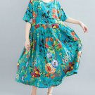 RudelynsSariSariStore.com Short Sleeves Floral Turquoise Dress for Plus Size Woman Cotton Material